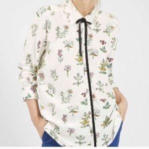 Topshop Floral Shirt With Velvet Tie